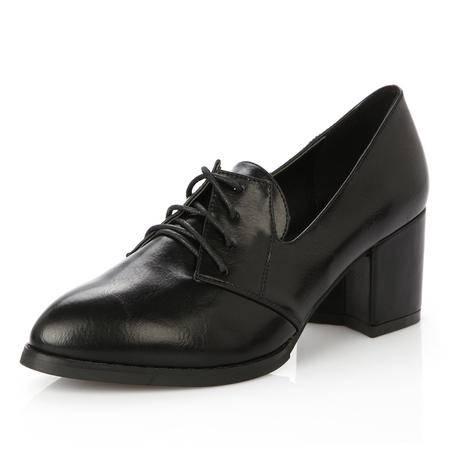 王菲儿2014春季平跟单鞋 欧美尖头平底鞋潮新款黑色舒适女鞋