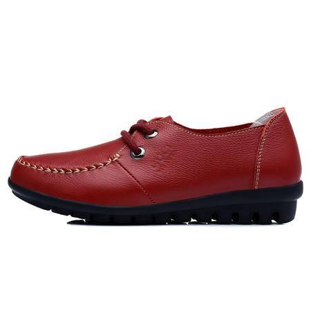 古奇天伦  新款头层牛皮单鞋休闲女鞋子低帮鞋