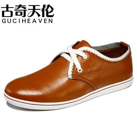 古奇天伦韩版头层牛皮板鞋 日常休闲低帮男鞋子