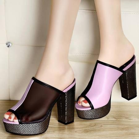 古奇天伦 蛇纹皮拖鞋 日常粗跟休闲女鞋 防水台网纱透气凉鞋子
