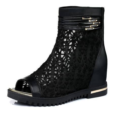 古奇天伦鱼嘴女鞋内增高休闲鞋 透气蕾丝网布鞋