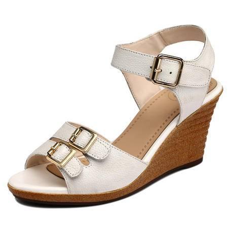 古奇天伦夏季新款时尚头层牛皮凉鞋 真皮坡跟女鞋 鱼嘴鞋子