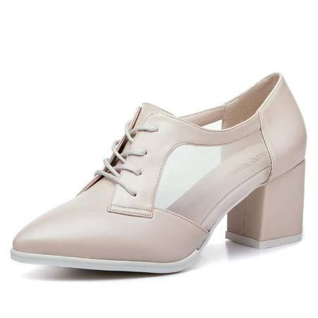 王菲儿2014夏季新款女鞋单鞋中跟方跟网布绑带低帮鞋女休闲鞋子