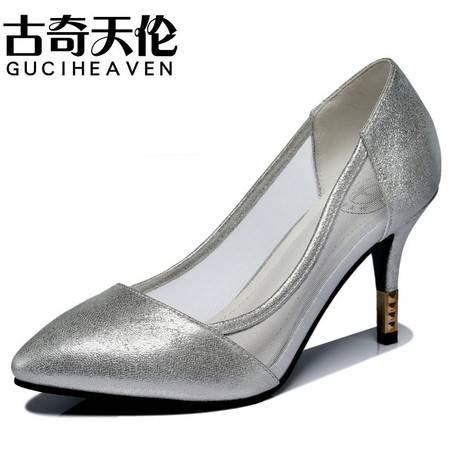古奇天伦尖头凉鞋 网纱透气高跟鞋 高跟女鞋子 34-39