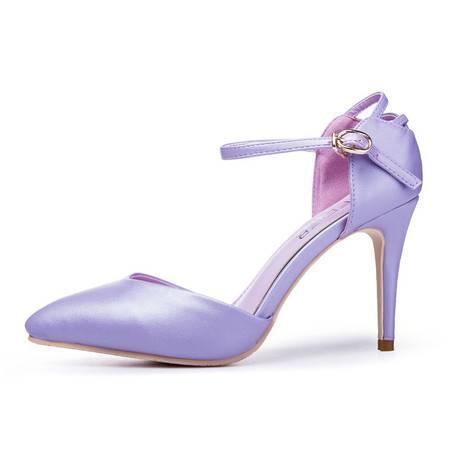 王菲儿2014夏季新款欧美大牌一字带单鞋性感细跟尖头绑带高跟鞋