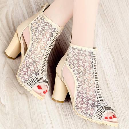 古奇天伦  蕾丝网布高跟鞋 鱼嘴透气鞋 休闲女鞋子
