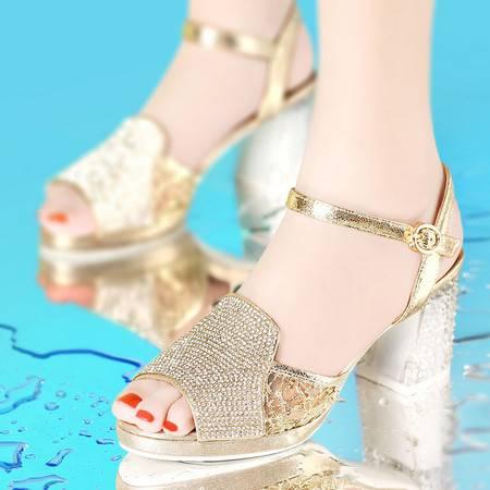 古奇天伦  夏季新款水钻凉鞋 鱼嘴网纱女鞋 粗跟休闲鞋