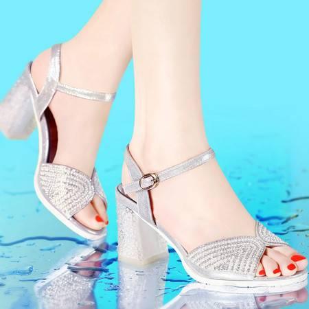 古奇天伦 夏季新款 水晶跟水钻女鞋 鱼嘴凉鞋 粗跟高跟鞋子