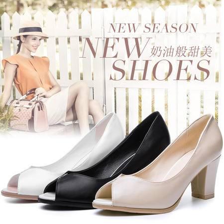王菲儿秋款时尚女高跟鞋粗跟 鱼嘴 单鞋
