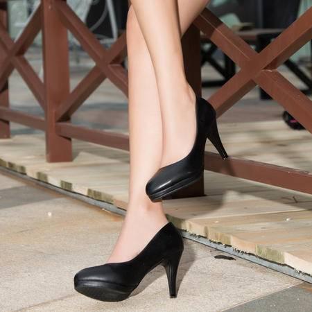 王菲儿秋季防水台高跟鞋细跟性感单鞋女工作鞋女黑色职业鞋