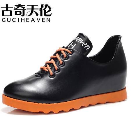 古奇天伦  春季女单鞋 休闲女鞋 内增高低帮鞋子