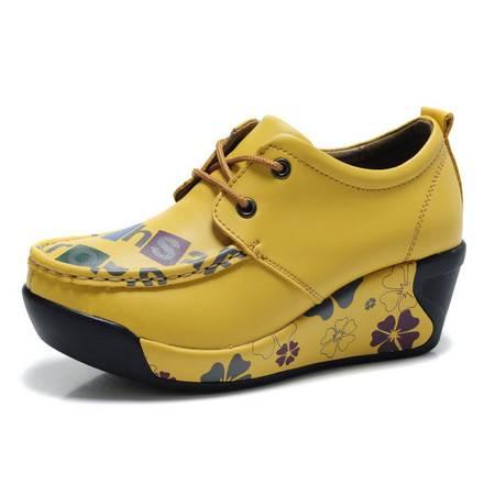 古奇天伦 厚底坡跟女鞋 真皮休闲鞋 皮鞋 松糕鞋
