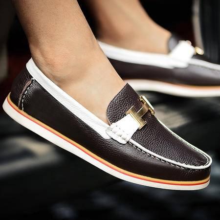 古奇天伦  头层牛皮男鞋 真皮板鞋 休闲低帮鞋