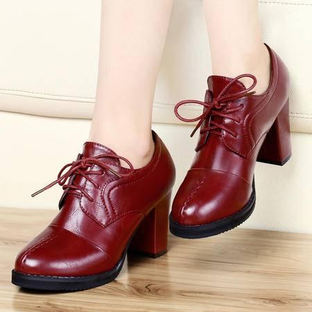 古奇天伦 时尚新款春季单鞋 休闲鞋 粗跟女鞋 高跟低帮鞋子