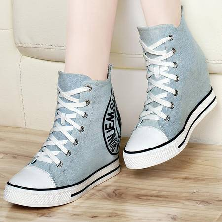 古奇天伦 时尚新款内增高帆布鞋 休闲女鞋 高帮鞋子