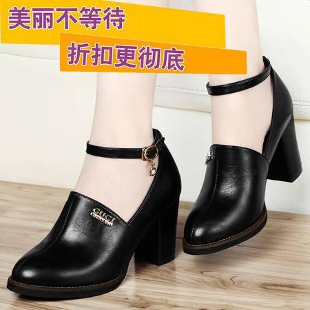 古奇天伦 新款时尚低帮女鞋 秋季单鞋 粗跟休闲鞋子 高跟鞋