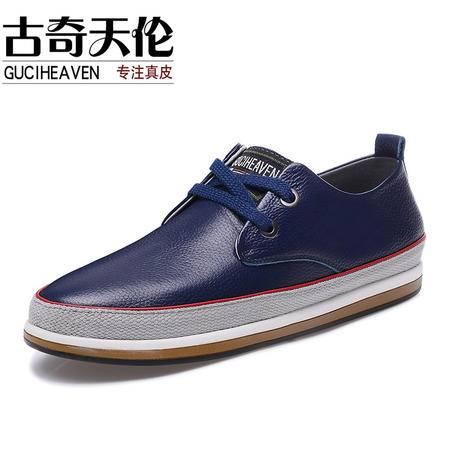古奇天伦秋季新款头层牛皮男鞋 日常休闲鞋子 拼色皮鞋子