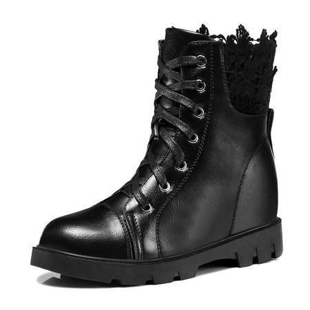 古奇天伦秋季新款蕾丝边女鞋 内增高女靴 休闲高帮鞋子
