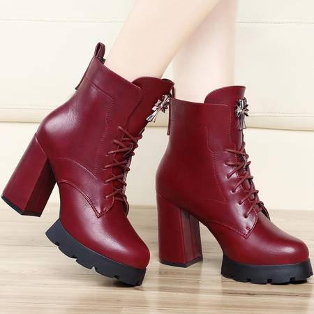 古奇天伦秋季新款防水台女靴 粗跟短靴 保暖女鞋 棉鞋子 34-39