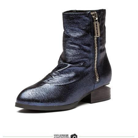 王菲儿冬季新款时尚短靴,低跟短靴,经典拉链尖头短靴