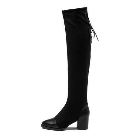 王菲儿秋冬经典弹力布低跟过膝长筒靴 后系带 套筒 气质长靴