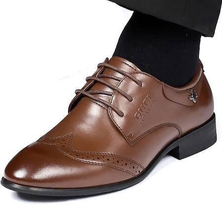 古奇天伦秋季新款布洛克男皮鞋 商务休闲鞋 头层牛皮低帮鞋子 39-44