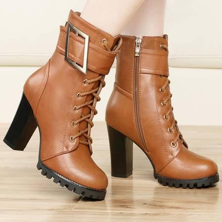 古奇天伦秋季新款粗跟女鞋 金属扣女靴 中筒靴 34-39