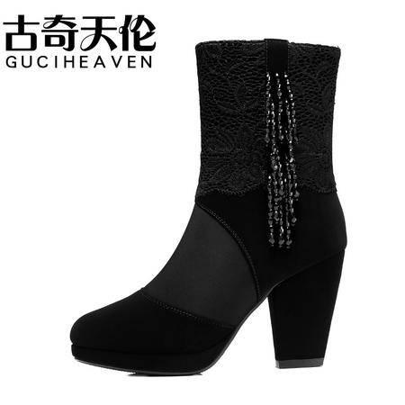 古奇天伦秋季新款流苏女靴 蕾丝女鞋 粗跟中筒靴 女鞋子 35-40