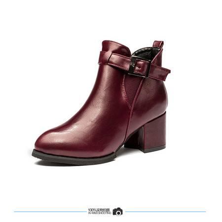 王菲儿冬款新款低跟尖头带扣高帮鞋女鞋 套脚女鞋