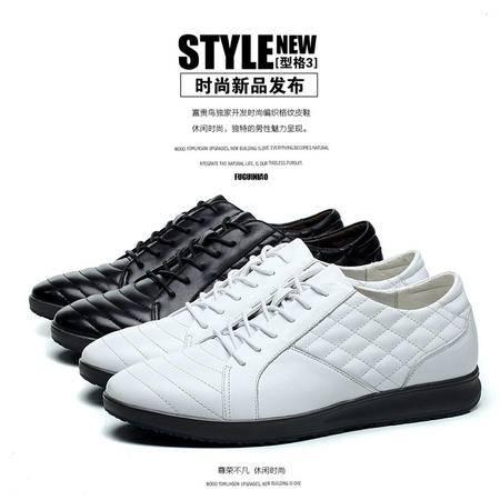 新款休闲皮鞋 时尚格纹男士潮鞋 正品真皮男鞋单鞋