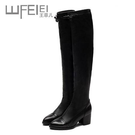 王菲儿秋冬新款时尚低跟尖头蝴蝶结过膝长靴女鞋