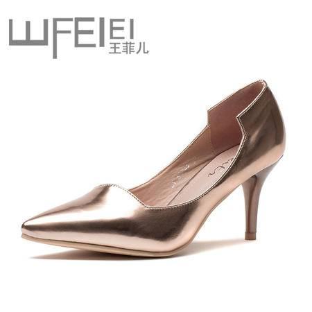 王菲儿欧美春 秋季新款休闲欧美高跟女鞋漆皮细跟超高跟尖头浅口