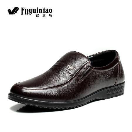 富贵鸟新款男士休闲皮鞋 正品商务真皮男鞋套脚鞋 爸爸鞋