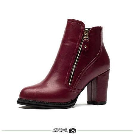 王菲儿欧美2014春秋新款短靴中跟女靴马丁靴 英伦粗跟皮靴时尚女鞋