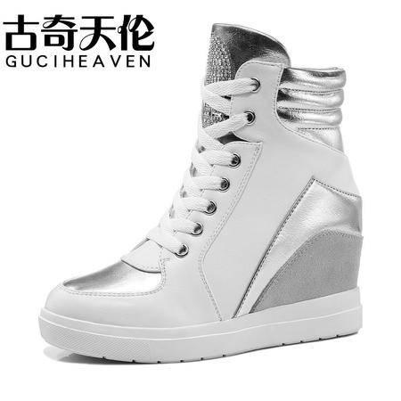 古奇天伦秋季新款内增高女鞋 日常休闲鞋子 高帮鞋 34-39