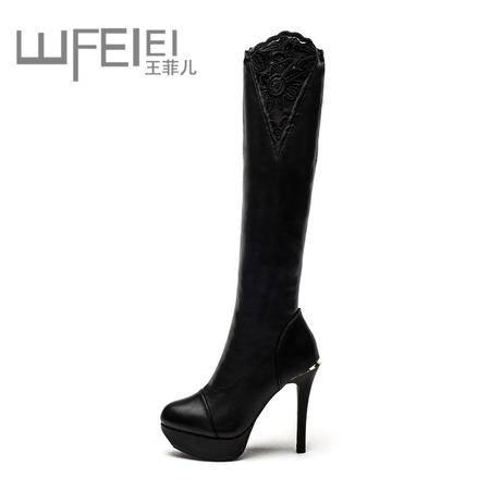 王菲儿冬季潮女超高跟鞋 细跟防水台高筒长靴 修腿性感蕾丝黑色女靴