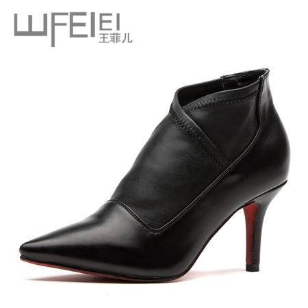 王菲儿秋冬新款尖头低跟单鞋 工作鞋 OL单鞋女鞋