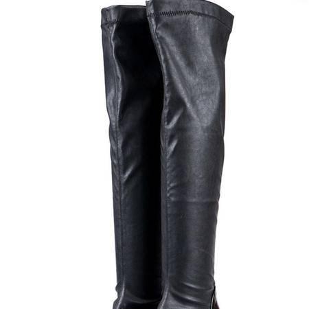 exull依思q2014冬季新款时尚方跟中跟过膝长靴女鞋子
