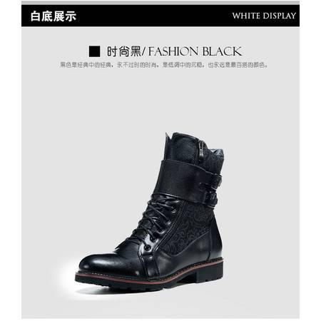 牛皮棉靴潮户外工装靴真皮男靴马丁靴朋克牛仔靴皮靴