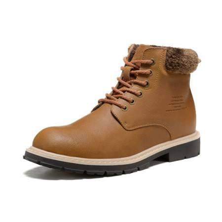 头层牛皮高帮靴潮户外工装靴真皮男靴时尚棉靴马丁靴
