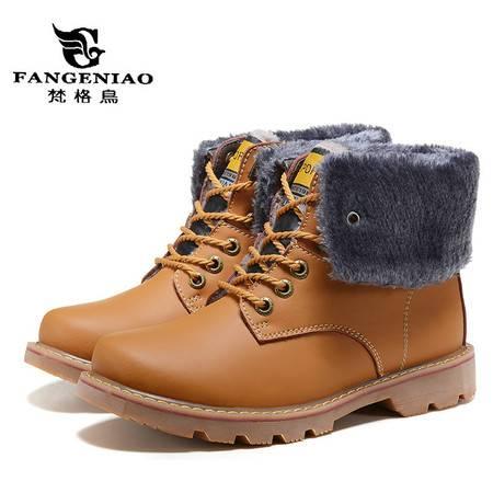 头层牛皮高帮靴潮流户外工装靴保暖真皮棉靴时尚马丁靴