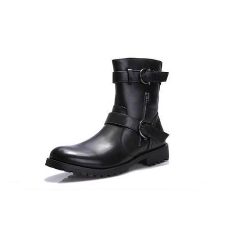 马丁靴男靴中筒 秋冬新款潮流英伦户外男鞋军靴短靴真皮