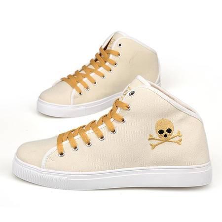 秋季韩版英伦高帮帆布鞋男士帆船休闲鞋板鞋透气潮流时尚鞋子