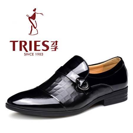 秋冬新款时尚男士高端商务鞋鳄鱼纹皮鞋