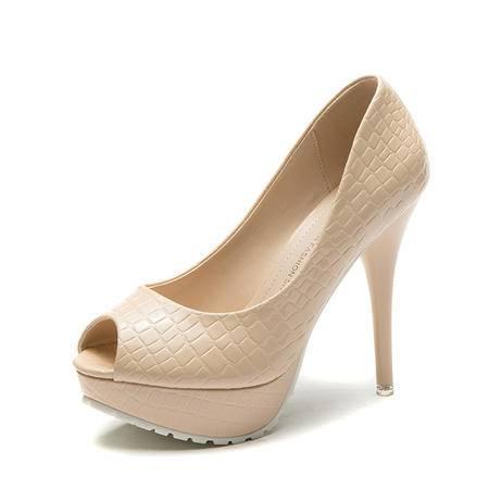 2015王菲儿新款细跟鱼嘴单鞋时尚高跟鞋鱼尾纹女鞋