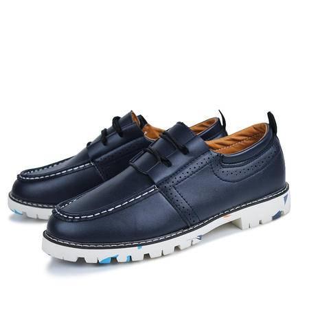新款迷彩橡胶底皮鞋耐磨防滑系带低帮男鞋韩版百搭时尚休闲鞋男