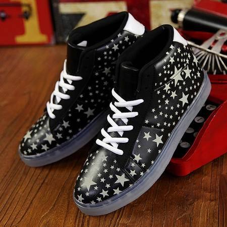 春秋新款韩版休闲鞋时尚潮流荧光运动板鞋夜光鞋情侣鞋鞋子