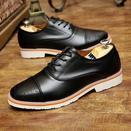 新款英伦风雕花布洛克休闲鞋男士透气皮鞋复古尖头男鞋子韩版潮鞋