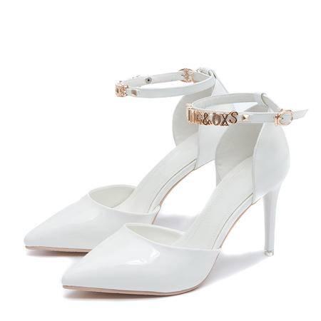 2015王菲儿春季尖头带字母高跟鞋漆皮镂空一字扣单鞋性感女鞋