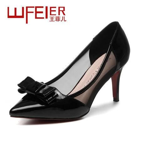 2015王菲儿春季单鞋时尚尖头单鞋蝴蝶结细跟女鞋低跟女鞋